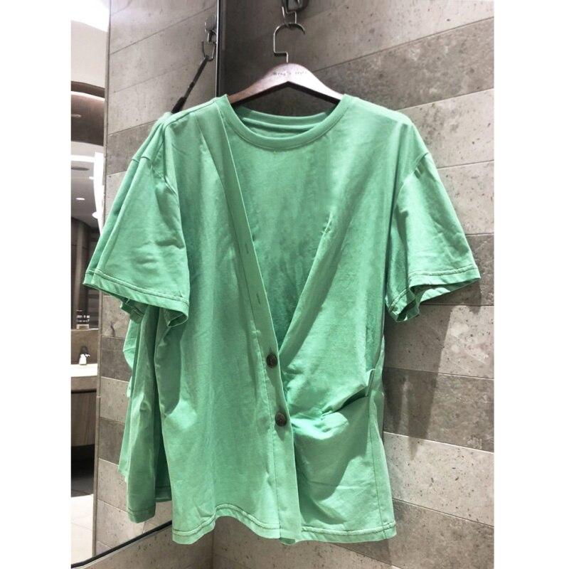Mode T-shirt femmes irrégulière couleur unie col rond petit haut Fluorescent couleur vert blanc vêtements T-shirt