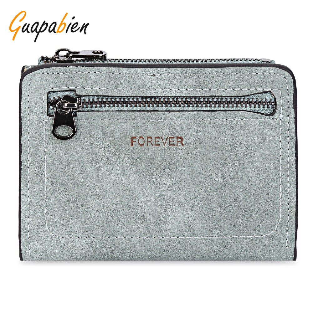 Guapabien Solid Color Short Clutch Wallet Women Zipper Hasp Leather Purses Small Credit Card Holder Coin Purses Bifold Wallet guapabien casual bear pattern hasp design large storage wallet for women