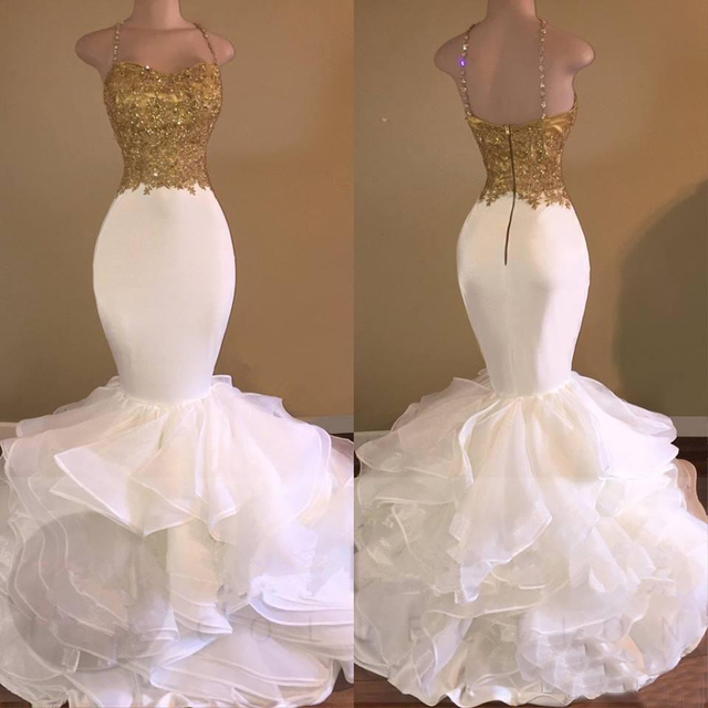 Elegant White Mermaid Evening Dress With Gold Lace 2019 Spaghetti Strap Backless Floor Length Long Gowns Prom Robe De Soiree