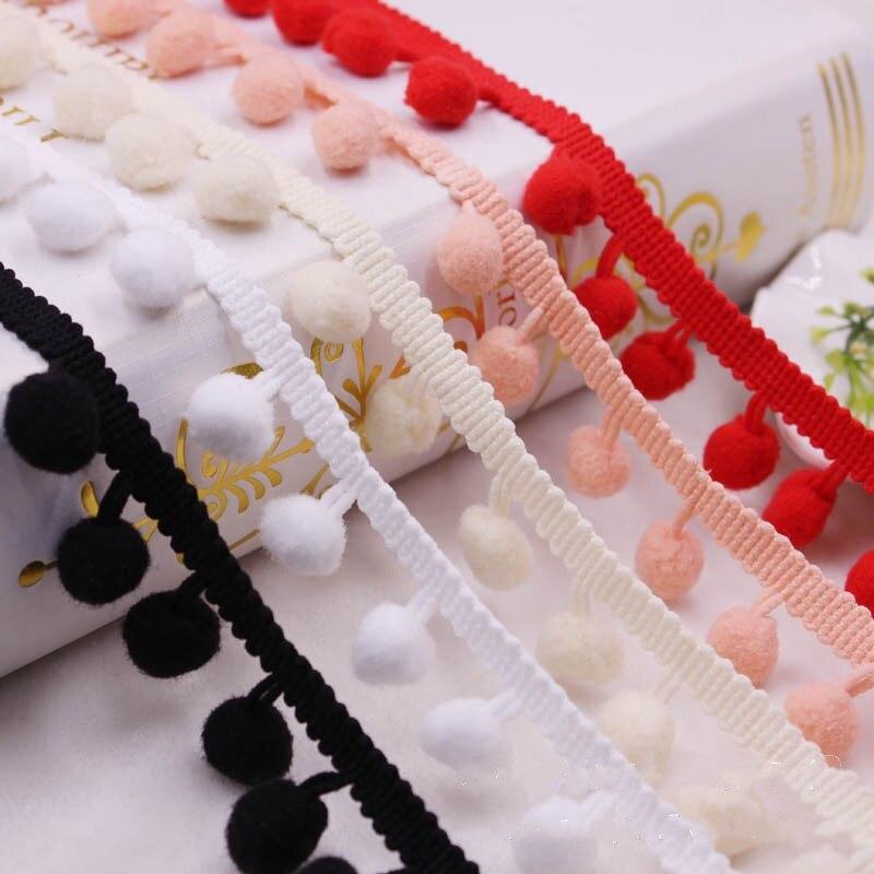 1yard Pompomes Trim Lace Fabric Sewing Pom Poms Tassel Hair Ball Lace RibbonTrim Ribbon Fringe Decoration DIY For Sewing Decor