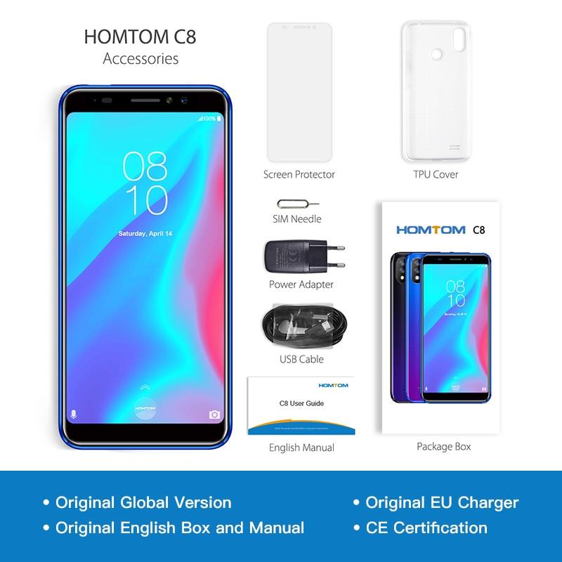Version globale HOMTOM C8 téléphone portable 5.5 pouces Android 8.1 MT6739 Quad Core 2 GB + 16 GB Smartphone déverrouillage du visage identification d'empreintes digitales 4G FDD - 6