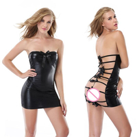 HU GH 2017 Sexy Hot Erotic Lingerie Faux Leather Lady Nightwear Bow Knot Backless Female Underwear