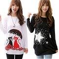 2016 moda dos desenhos animados t shirt mulheres tops de manga longa túnica plus size camisetas para as mulheres inverno feminino t-shirt artigo camisas femininas