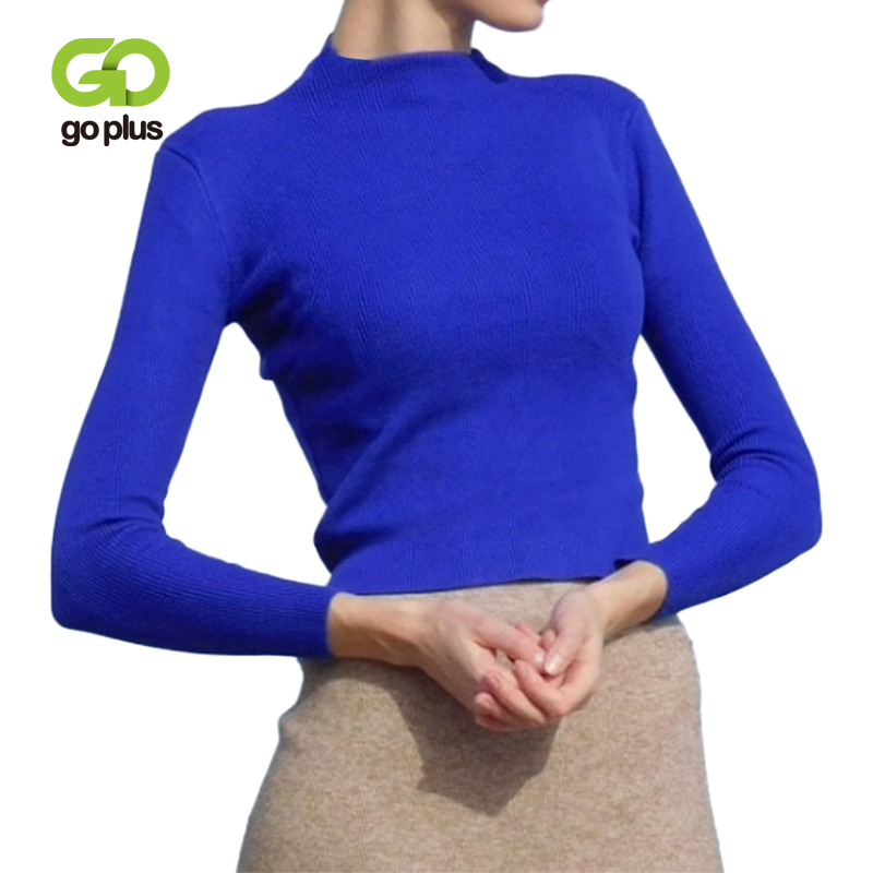 GOPLUS Vintage Turtleneck Short Pullovers Woman Long Sleeve Basic Female Knitted Sweater Autumn Winter Office Ladies Sweaters