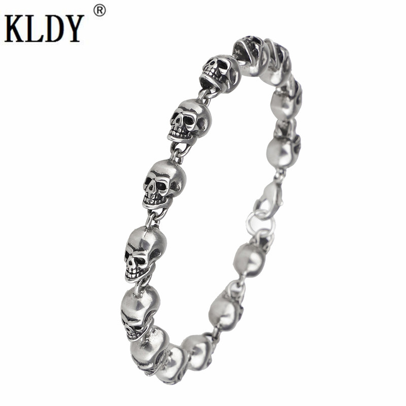 KLDY Skull Bracelet Punk Stainless steel Bracelets For Man High Quality Fashion Skeleton Jewelry Personalized statement hot gift все цены