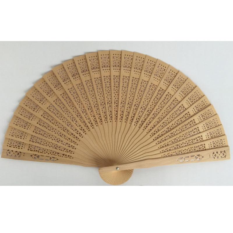 30pcs / lot dekorativni rezbaren Wood Hand Fan promocija darove