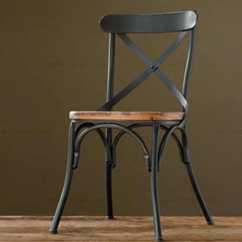 Топ, деревня ретро мебель, Винтаж металлический стул, анти лечения ржавчины, деревянные наборы мебели для столовой, черный металлический стул