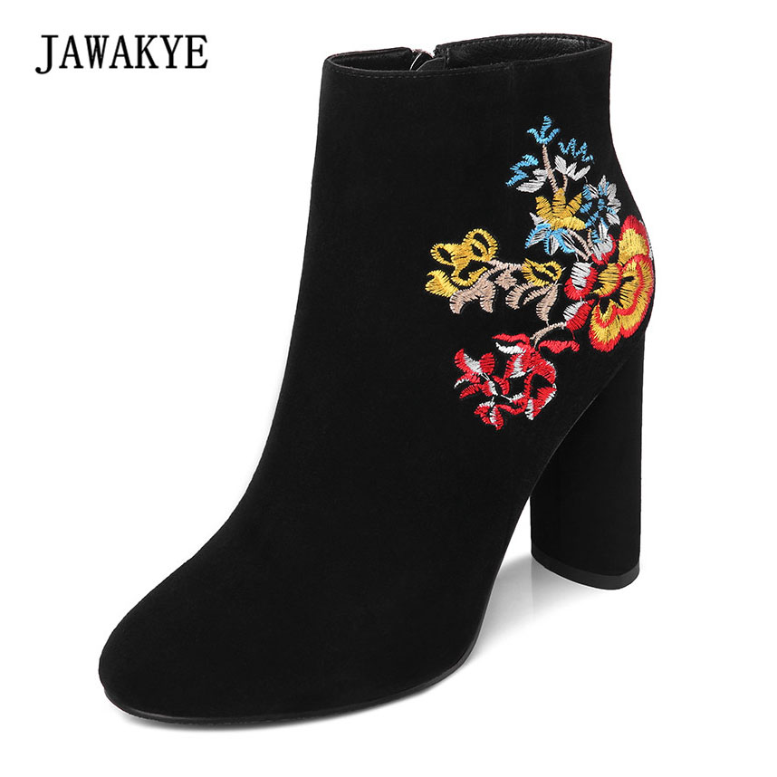 JAWAKYE Kid Suede Embroidered Ankle Boots For Women Chunky High Heels Martin Fashion Winter Shoes Women embroidered women high boots fashion designer shoes women luxury 2017 stiletto embroidered women high boots page 8