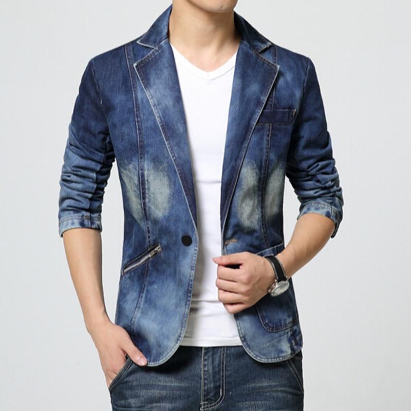 2017 új tavaszi divat márka férfi blézer férfiak trend farmer öltöny alkalmi ruha Jean kabát férfiak Slim Fit farmer dzseki férfi