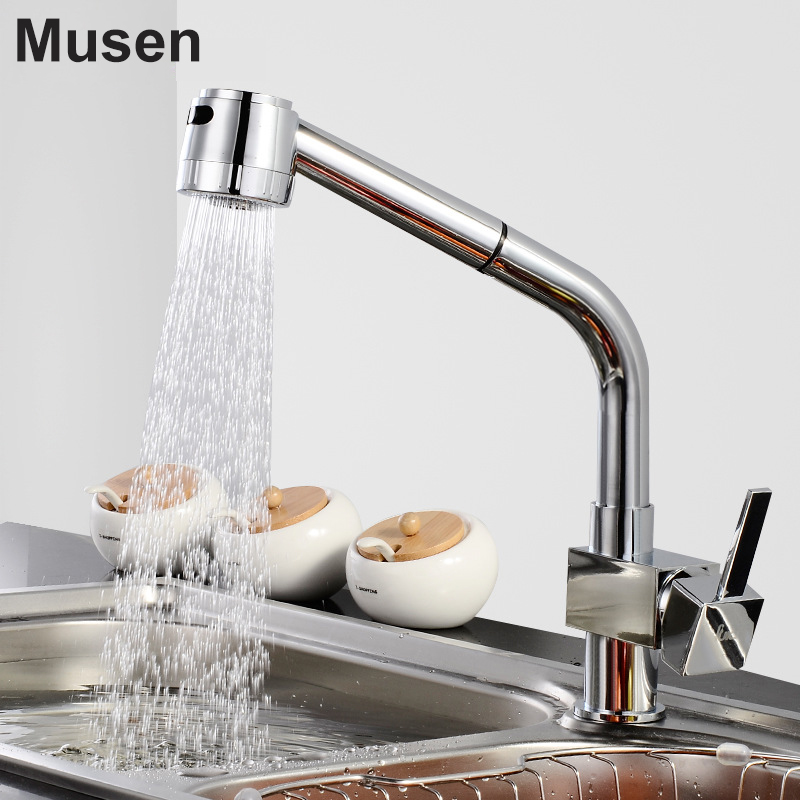 2 Way Water Outlets Quality Brass Sink Tap Hot Cold Water Pull Out Kitchen Faucet Chrome 2 Way Water Outlets Quality Brass Sink Tap Hot Cold Water Pull Out Kitchen Faucet Chrome