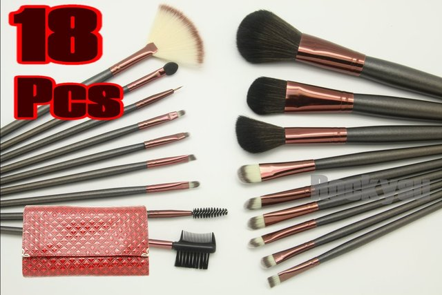 Wholesale - - - 18 pcs PRO MAKEUP COSMETIC BRUSHES SET GOAT HAIR Red Bag Leather Pouch FREE SHIP