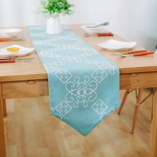 New Chinese Clical Good Luck Pattern White Embroidered Linen Table Runners High Quality Sky Blue Rectangle