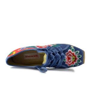Image 5 - Veowalk Nieuwe Lente Vrouwen Bloem Geborduurd Platte Platform Schoenen Chinese Dames Casual Comfort Denim Stof Sneakers Schoenen