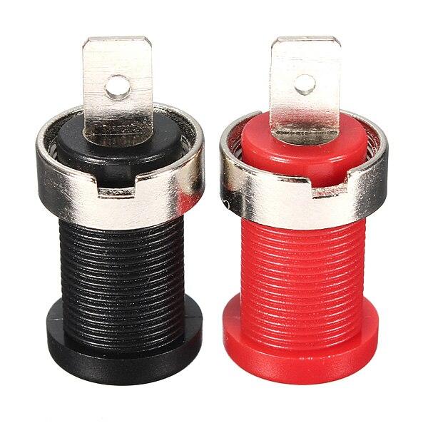 2Pcs 4mm Nickel Plated Binding Post Banana Jack Socket Plug Connector Panel Mount Flat Pin Red And Black