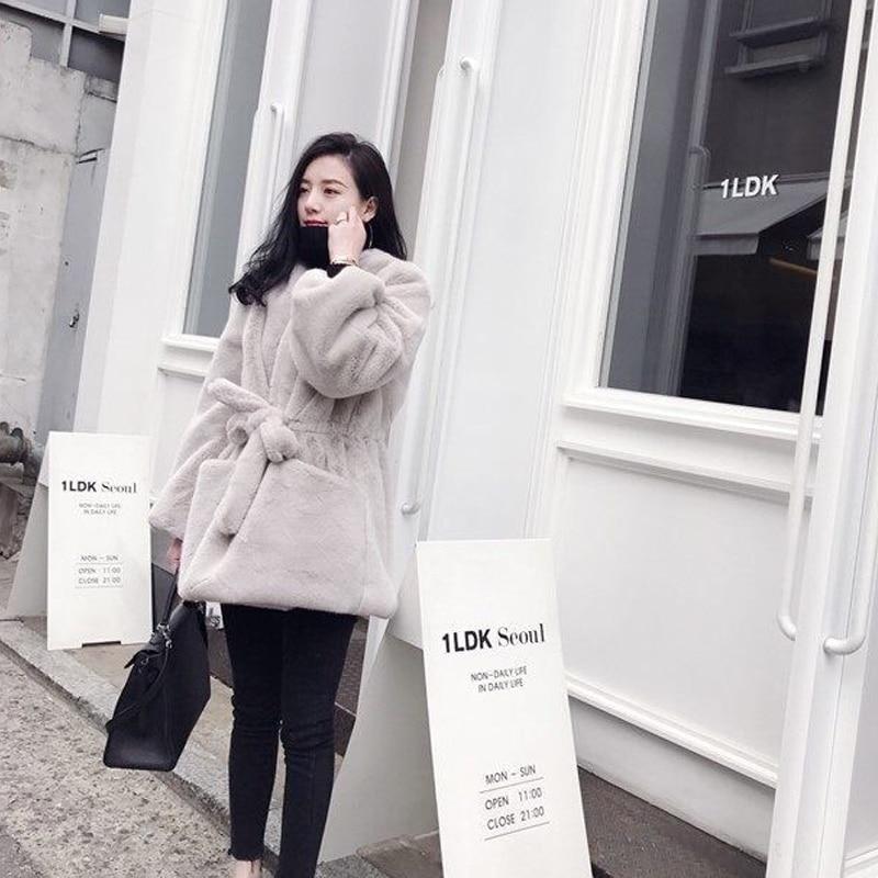 rose Fourrure Uppin Velours Femmes 2018 Nouvelle En Élégant Manteau Style Automne Lapin Ceinture Hiver gris Coréen Avec Chaud Veste V Noir Rose Longue Col Imitation YRYrnwqxSa