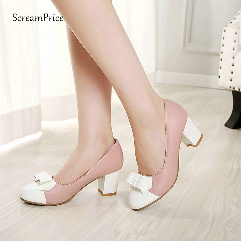 Women's Sweet Bow Knot Pumps Square Low