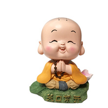 Little monk blessing home decoration office Creative Resin Crafts Car gift good mood Small ornaments