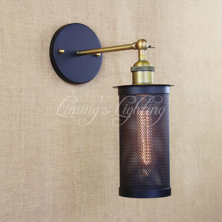 Retro Cage Vintage Metal Wall Lamp Led E27 Lights For Workroom Bedroom Bar Vanity Lights ...