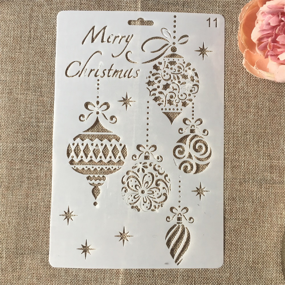 Hot 26cm Merry Christmas Balls DIY Craft Layering Stencils Wall Painting Scrapbooking Stamping Embossing Album Card Template