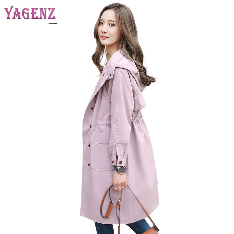 Autumn Winter Women Windbreaker Coat 2018 High quality Long Loose Pregnant Women Overcoat Solid color Hooded Womens   Trench   Coat
