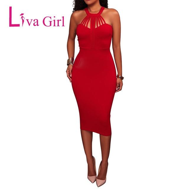 Liva Girl Sexy Women Party Midi Dress Summer New Halter Bodycon Dresses Red Pink Black Sleeveless Club Night Vestidos Verano XXL