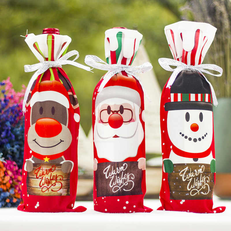 2019 1PC New Christmas Decor For Home Xmas Wine Bottle Bag Cover Santa Claus Deer Bottle Clothes Kitchen Decoration New Year
