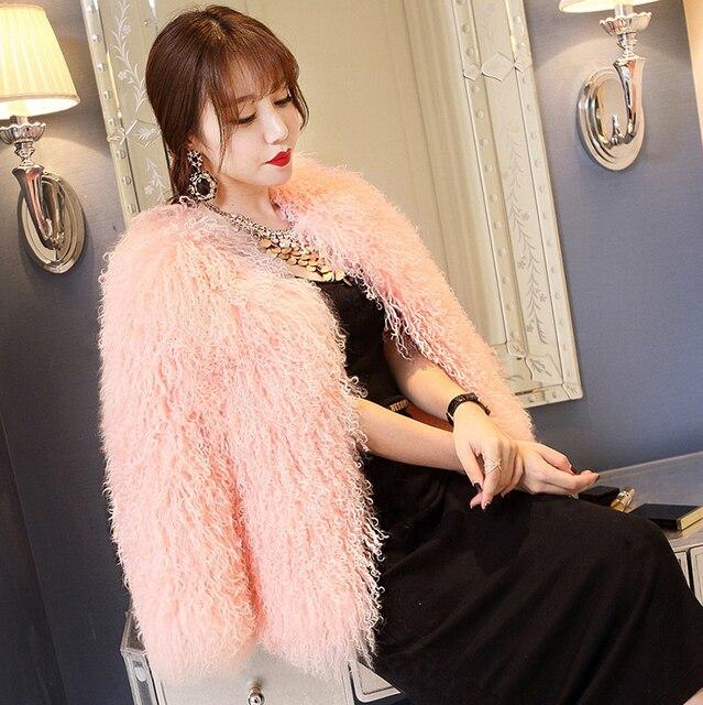 Mongolia Sheep Fur Coat 2017 Winter Fashion Sweet Genuine Full Sheepskin Fur Overcoat Thick Warm Women Outerwear Short Coats