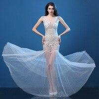 Сверкающие кристаллы, костюмы с v образным вырезом, сексуальное платье для женщин, цветные длинные платья со стразами, женская певица, плать