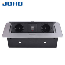 JOHO Socket Dual USB Charging Port 2.1A Office Desktop Socket Zinc Alloy Board 16A Slow POP UP 2 Power Supply European