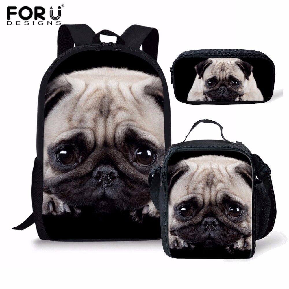 FORUDESIGNS 2018 Schoolbags set Backpack for Girls 3PCS Set Backpack 3D Pug Dog Print Children Backpack