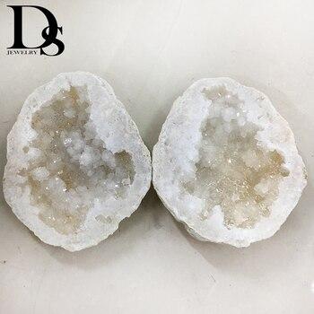 2pcs Natural Big Size Agate Geode Slice Drusy Druse Quartz Crystal Cluster Points Minerals Specimen Healing Crystal Home Decora