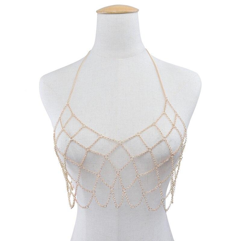 2018 New Graceful Mesh Body Chain Bra Fashion Sexy Beach Bijoux Femme Women Simple Chest Chains Korean Trendy Jewelry Decoration