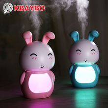USB electric Aroma Essential Oil Diffuser Ultrasonic Air Humidifier cute rabbit pink LED Lights aroma diffuser for home girl
