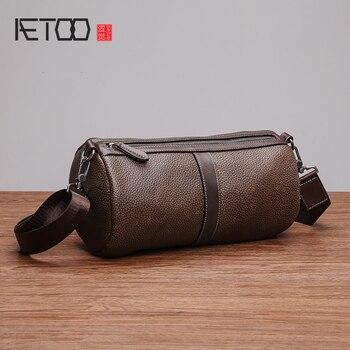 AETOO Single shoulder bag male leather oblique cross bag casual men's bag cylindrical head cowhide cylinder bag
