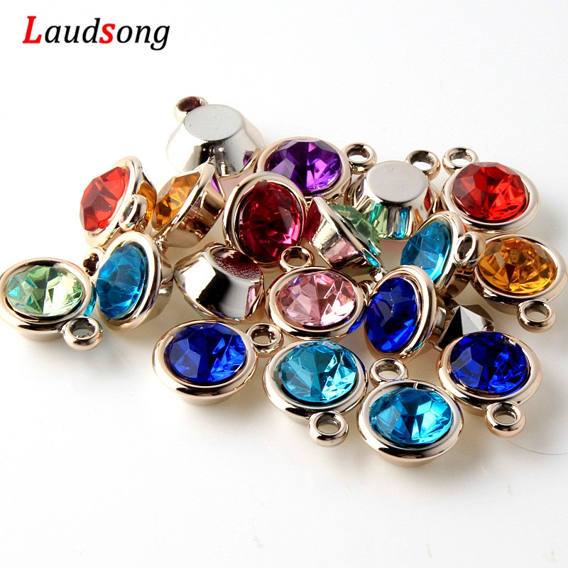 50Pcs Rose Gold Acrylic Beads Drill Charm Pendants For Jewelry Making Bracelet Necklace Accessories Findings