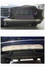 Aluminum Front + Rear Bumper Protector Skid Plate Guard Trim for Porsche Cayenne 2008 2009 2010 2015-2017