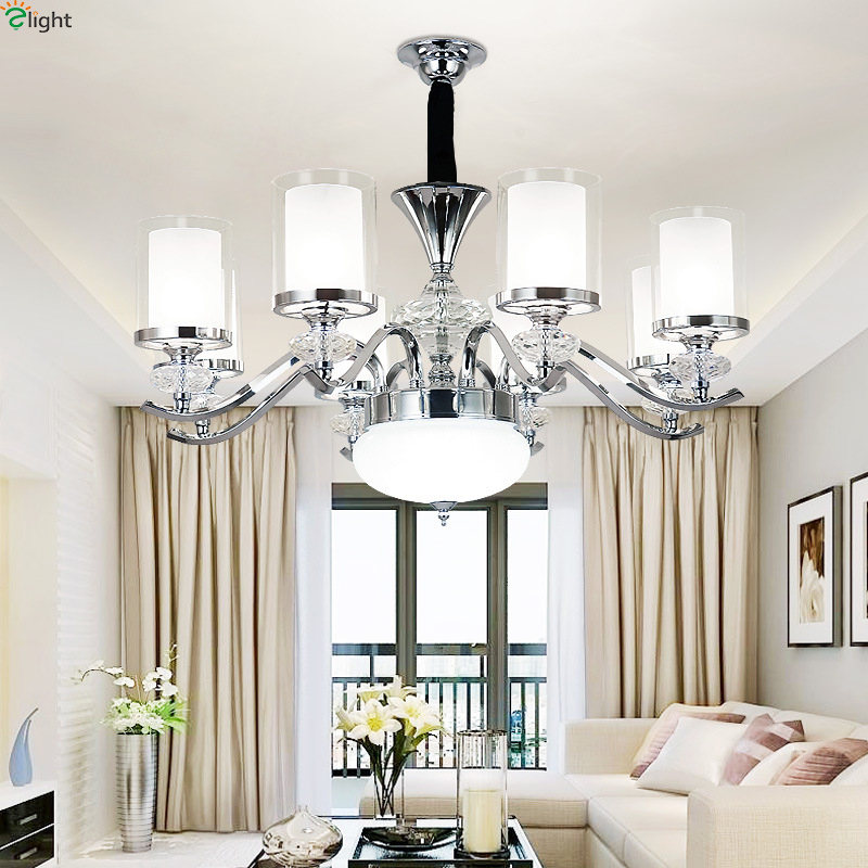 Modern Crystal Led Pendant Chandelier Lights Chrome Metal Living Room Led Chandeliers Lighting Dining Room Hanging Light Fixture led crystal chandeliers lamp round ring hanging lights modern led crystal chandelier fixture for living room lobby ac110v 240v