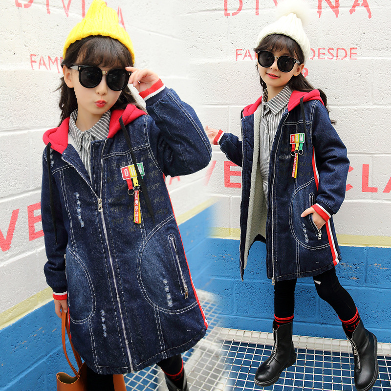 Girls Denim Jacket Loog Sleeve Hooded Children Thick Velvet Jacket Big Virgin Long Warm Coat Kids Clothes Girls Winter Outerwear dark wash long denim coat jacket with hooded