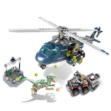 Jurassic World Park Blue Helicopter Pursuit Building Blocks Kit Bricks Classic Movie Model Kids Toys Gift Compatible Legoings цена 2017