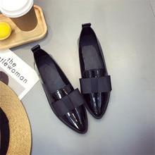 2019 Spring Fashion Shoe Women Non-Leather Flat Shoes Casual Shoes Pointed PU Leather Women Shoes Casual Shoes zapatos de mujer