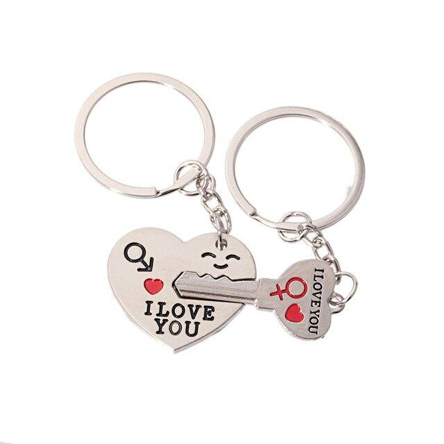 1 par Romântico Eu TE AMO Chaveiro para Casal Presente do Amante Dia Dos Namorados  Coração 0fef671cb0