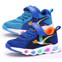 Dinoskulls Kids Led Shoes Light Up 3D Dinosaur Boys Sneakers Mesh Glowing Sports Tennis Children Shoes 2019 Autumn Baby Trainers