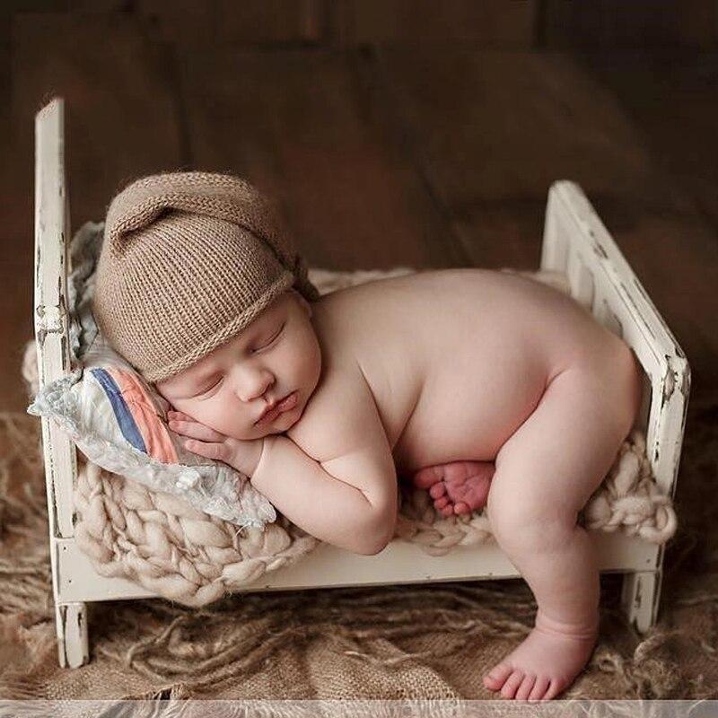 Vieux bois lit nouveau-né photographie accessoires posant bébé Photoshoot paniers accessoires Photo Shoot Flokati photographyprop lit
