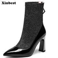 Xinbest женские ботинки острый носок Gaotong/Женские зимние сапоги Повседневное Модные ботильоны для Для женщин из натуральной кожи Для женщин Об