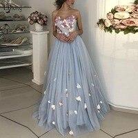 Fresh 3D Flower Long Evening Dresses Elegant Light Dusty Blue Floral Evening Gowns Plus Size Lace Up New Abendkleider 2018