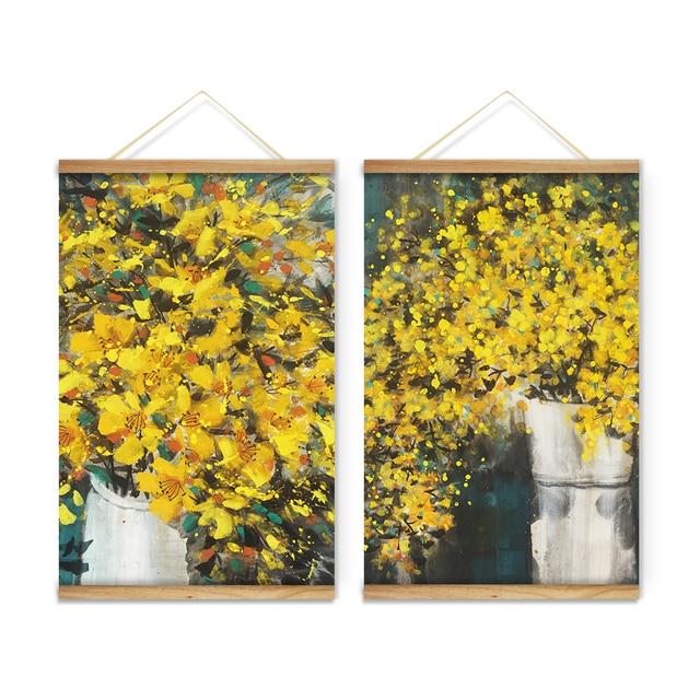 Fiori gialli vasi decorazione di arte della parete quadri for Vasi di fiori dipinti