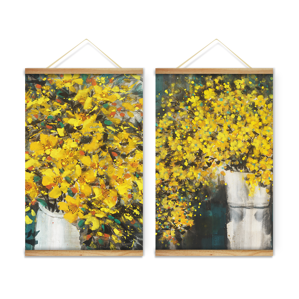 Yellow Flowers Vases Decoration Wall Art Pictures Canvas Wooden ...