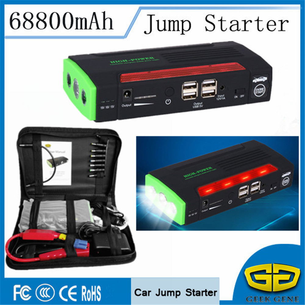 Multi-Function 68800mAh Car Jump Starter Portable Lighter 4USB Power Bank 600A Starting Device Car Charger For Car Battery LED mini usb led lamp portable bendable keyboard usb light for ultrabook notebook laptop power bank adapter wall car charger