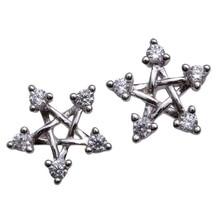 Фотография YACQ 925 Sterling Silver CZ Cubic Zirconia Snowflake Stud Earrings Holiday Jewelry Gifts Women Girlfriend Her Dropshipping HE08