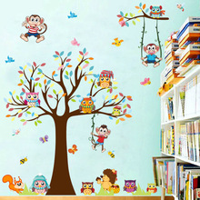 Cartoon Owl Fox Monkey Trees height Wall Sticker Baby Room Children Bedroom Wall Stickers Home Decor Wall Art Sticker Posters недорого